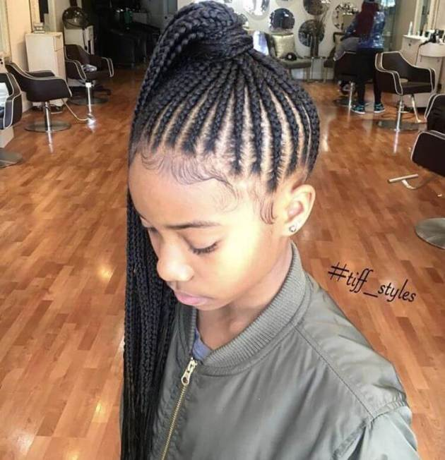 afro american natural braided ponytail hairstyle