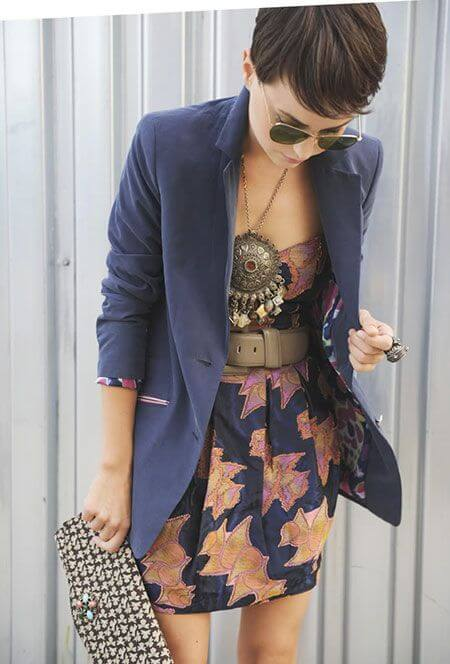 outfit with jewelry and short pixie hair