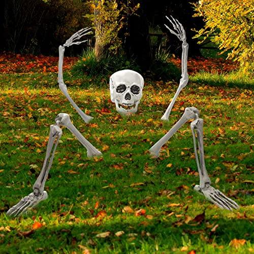 spooky halloween skeleton decoration idea for garden