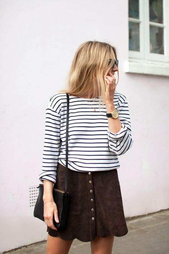 suede skirt outfit with short hair
