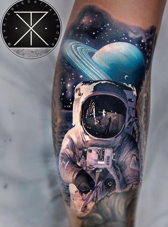 astronaut in space tattoo design
