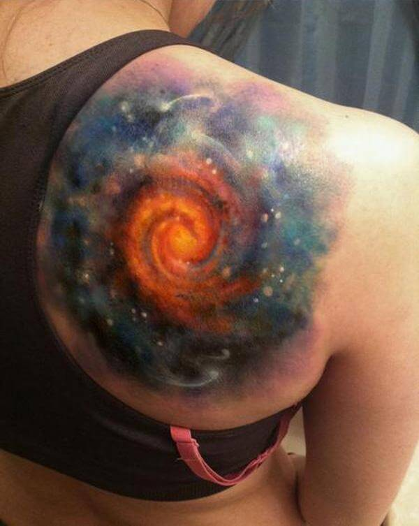 astronomy space tattoo design on back shoulder