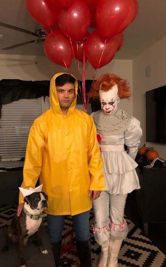 diy creepy pennywise clown and georgie halloween costume idea