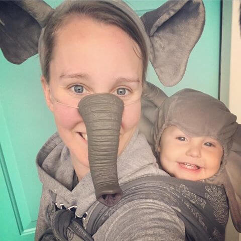 elephant baby carrier halloween costume idea