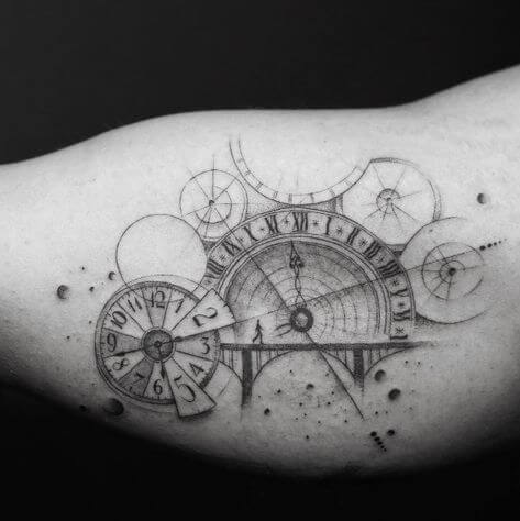 geometric clock astronomy tattoo idea