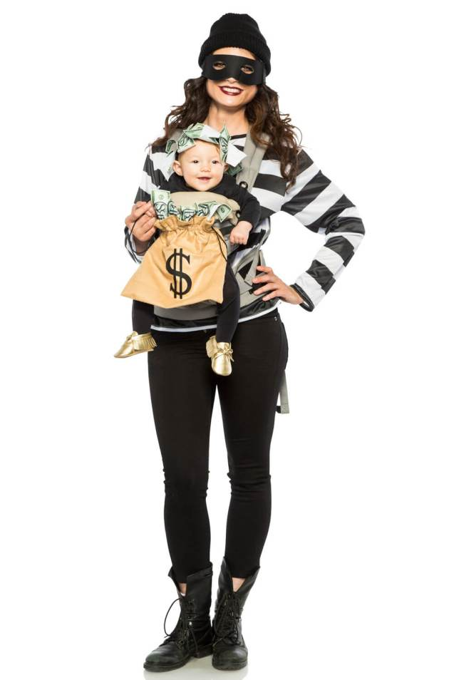 robbers bag of money baby carrier halloween costume idea