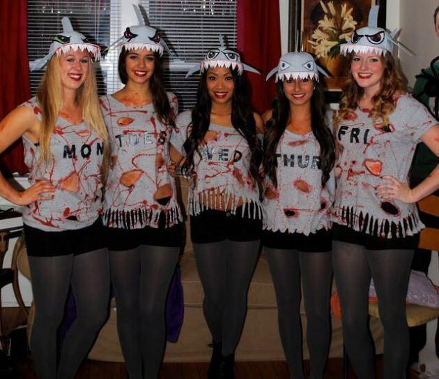 shark week group halloween costumes for 5 girls