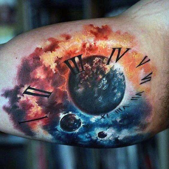 watercolor galaxy clock tattoo design
