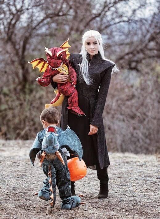 GOT the khaleesi mother of dragons family halloween costumes ideas