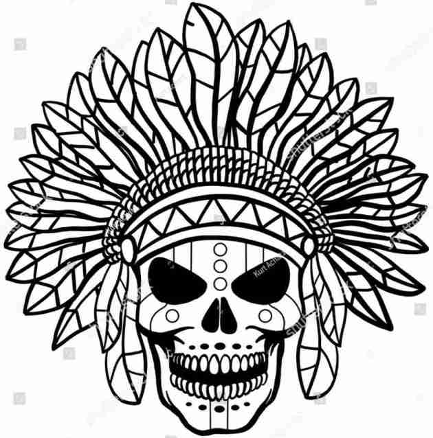 feathers crown indian skull coloring picture