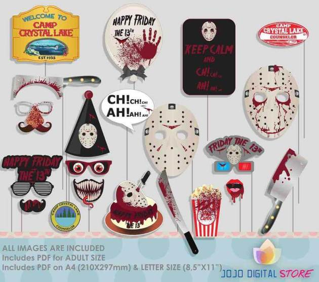 friday the 13th halloween party photo booth props