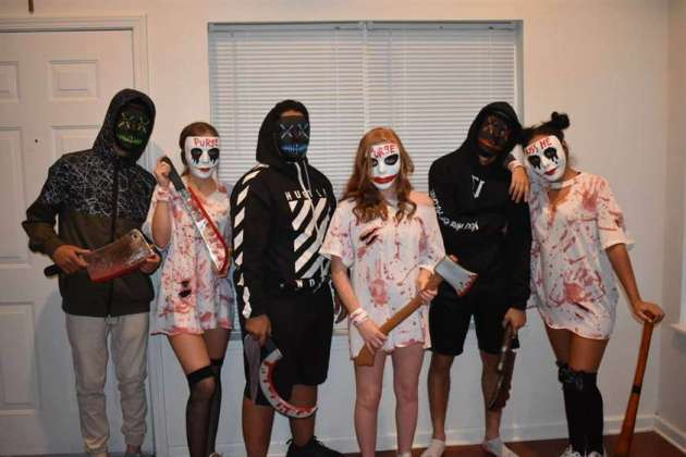 black and white group of 6 purge halloween costume ideas
