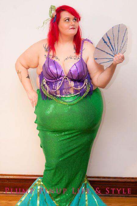 homemade little mermaid ariel plus size halloween costume idea
