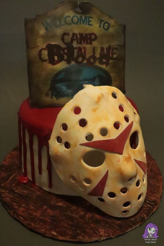 jason mask bloody friday the 13th cake design