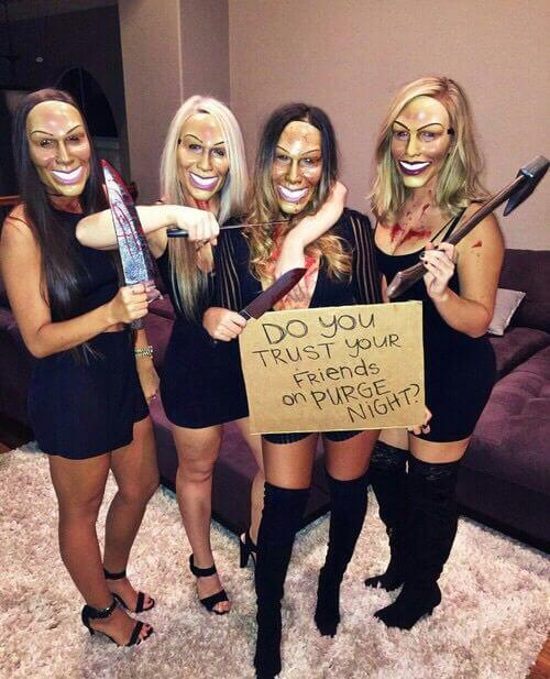 scary mask group of 4 women purge halloween costume ideas