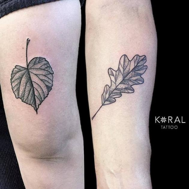 black ink dotwork leaves father daughter tattoos on arm