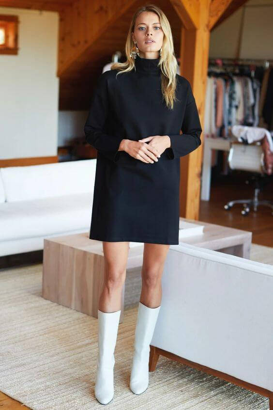 turtle neck dress and white boots outfit