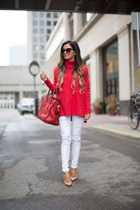 casual christmas red and white outfit ideas for females
