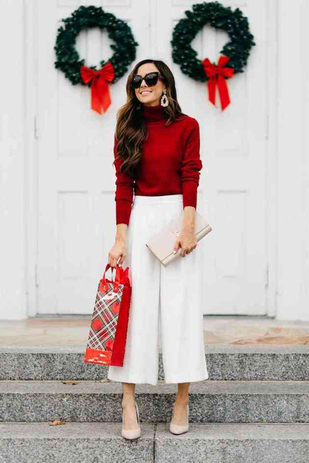 casual red and white christmas outfit ideas for females