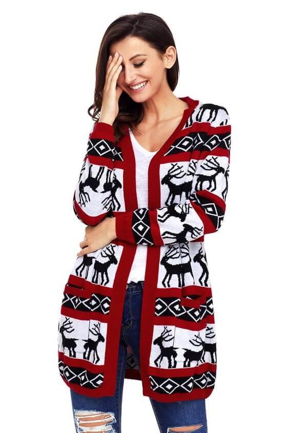 casual reindeer christmas cardigan ideas for females