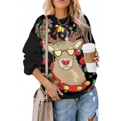 christmas holiday reindeer printed female sweater shirt