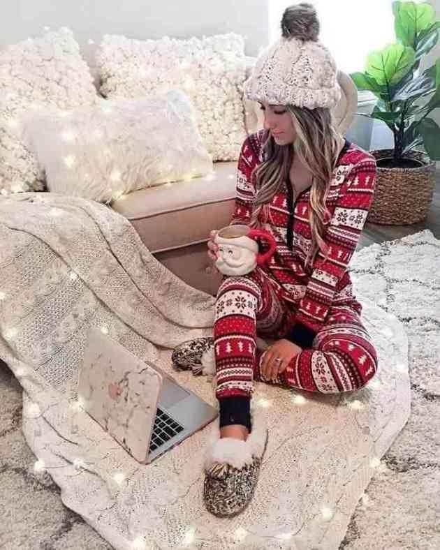 christmas pyjamas casual women outfit ideas