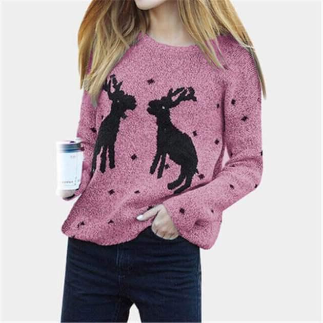 christmas reindeer female sweater shirt