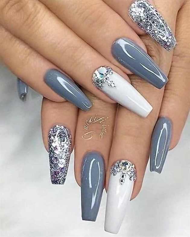 glitter gel with rhinestones white and grey acrylic coffin chirstmas nails