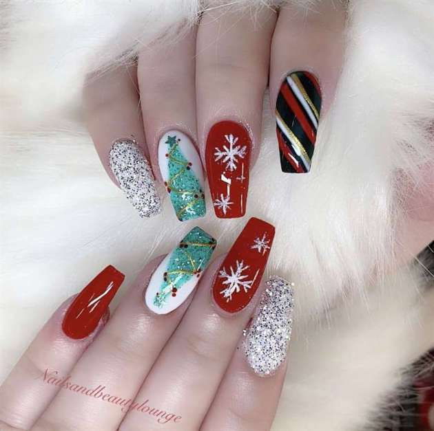 glitter red and white acrylic coffin christmas nails