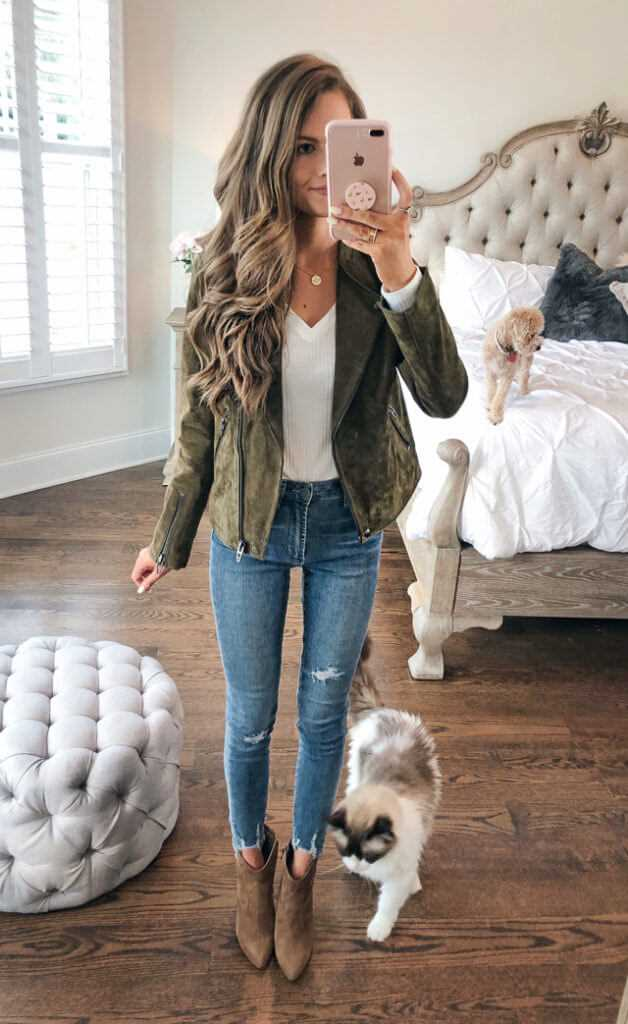 Suede jacket paired with suede ankle boots winter outfit