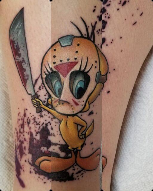 jason voorhees tweety bird tattoo design