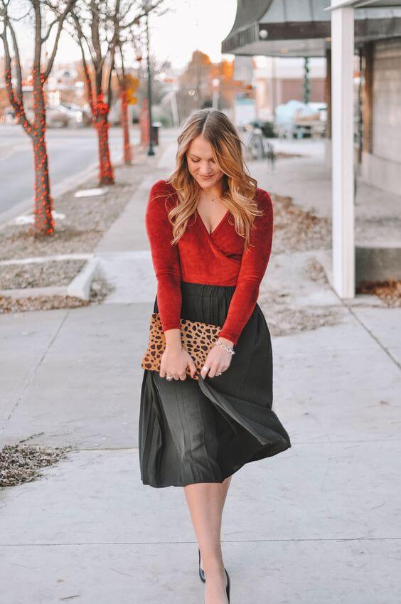 red and black classy christmas party outfit
