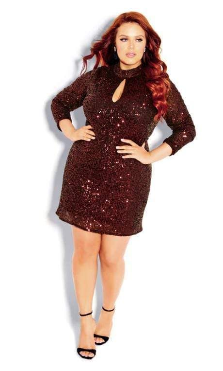 sequenced maroon party dress for curvy ladies