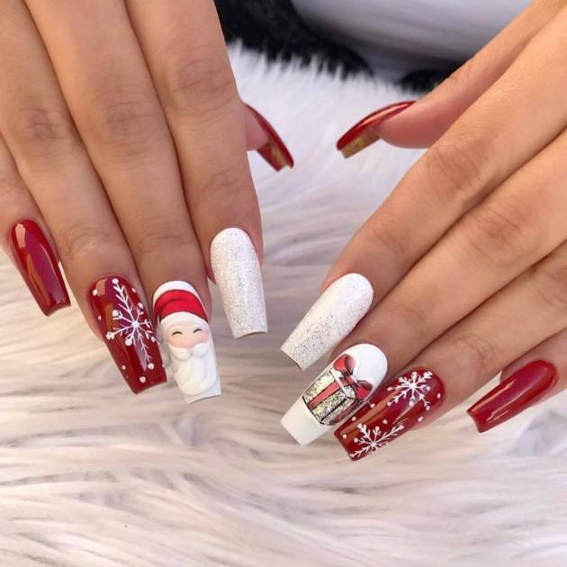 white and red acrylic coffin christmas nails designs