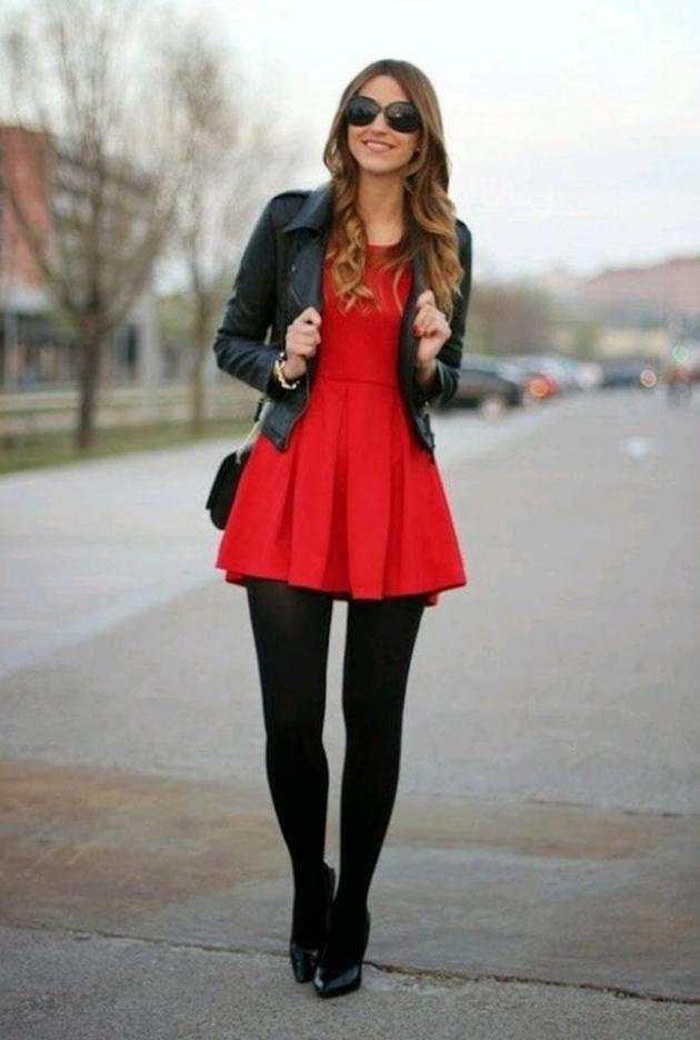 women winter casual leather jacket dress ideas for christmas holidays