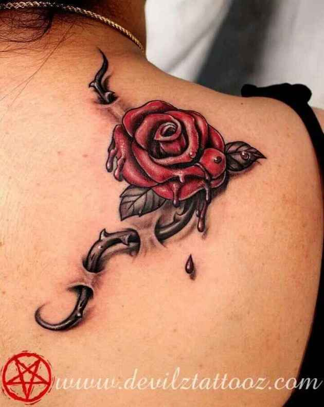 3d bleeding petals of rose with thorns tattoo design on shoulder blade