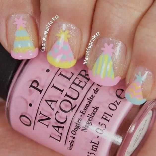 cute birthday hat nails design ideas