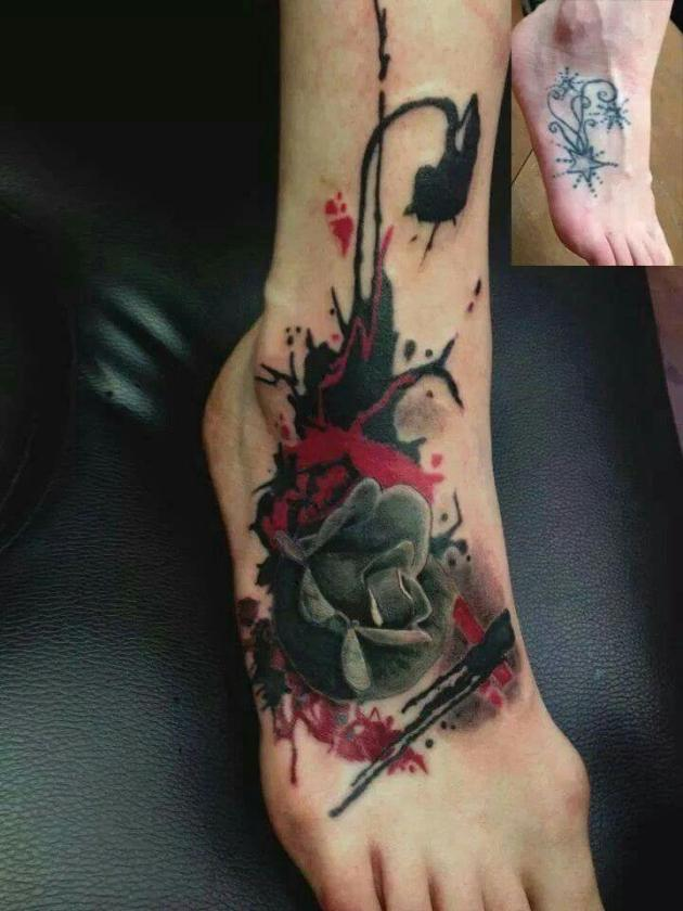 black rose bleeding tattoo design on foot