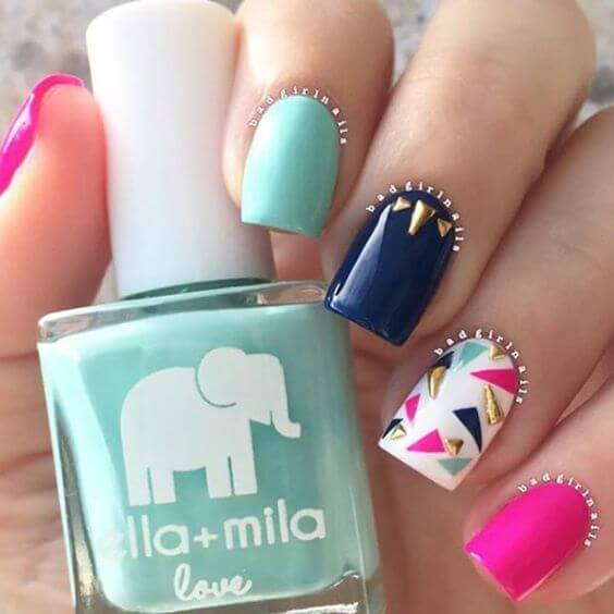 tropical blue, green, white and pink matte nails for summer