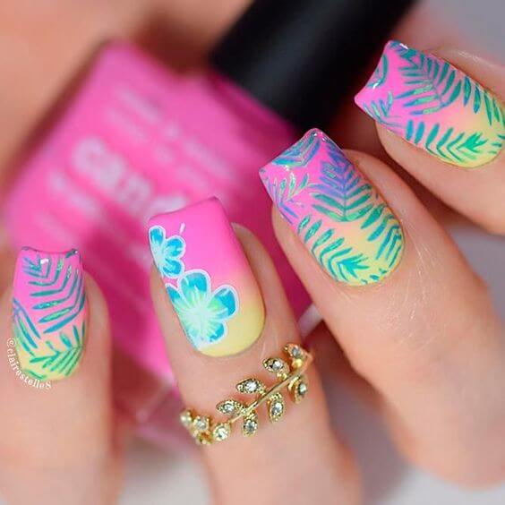 ombre pink tropical summer nails designs