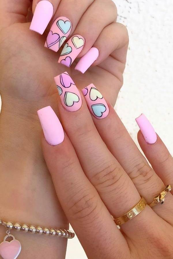 cute matte pink with pastel neon heart nails art