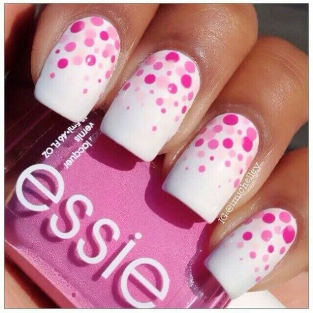 cute blende of ombre polka dots birthday nails