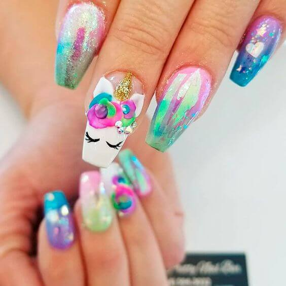 cute unicorn lover birthday nails art design ideas