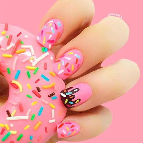 summer pink donut nails for donut lovers