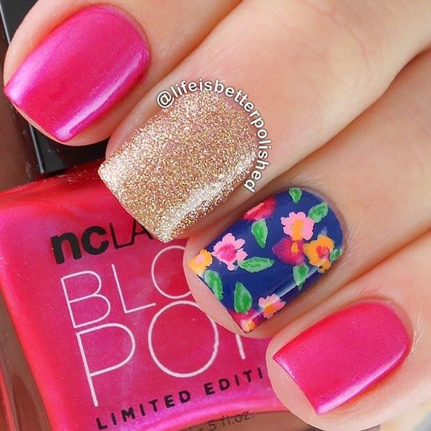 colorful floral bust summer nails
