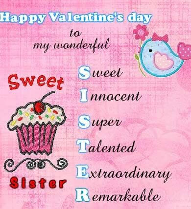 cute happy valentines day sister abbreviation image