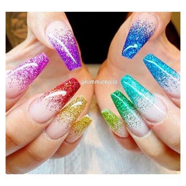cute long acrylic coffin glitter gel rainbow tip nude birthday nails art ideas