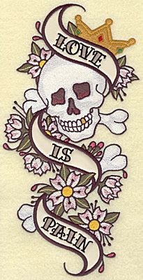 love is pain with a crowned skull and bones tattoo sketch