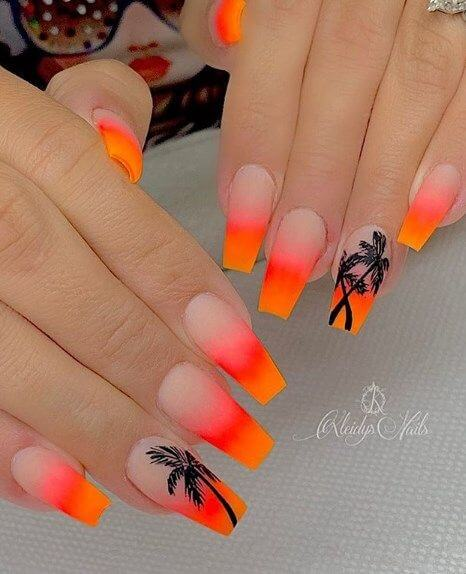 orange punch with black palm trees stickers acrylic coffin summer nails