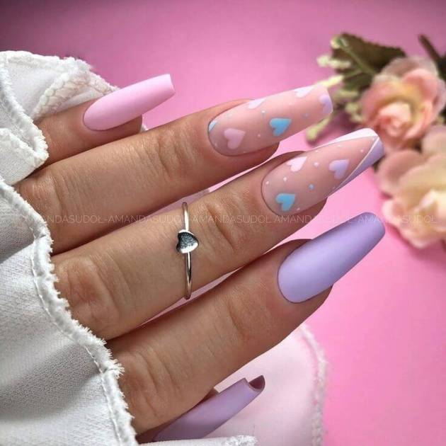 pastel purple and pink with tiny heart nails
